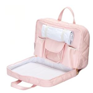 Mala maternidade em sintético rosa