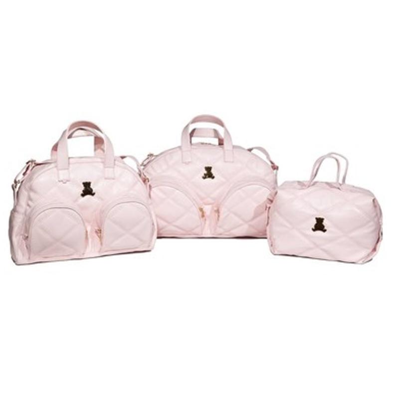 Kit maternidade triplo em sintético rosa